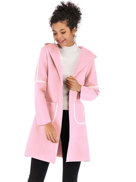 Milanoo Abrigo de mujer Rosa Blanco Bloque de color Cuello vuelto Manga larga Poliester Abrigo de invierno clasico