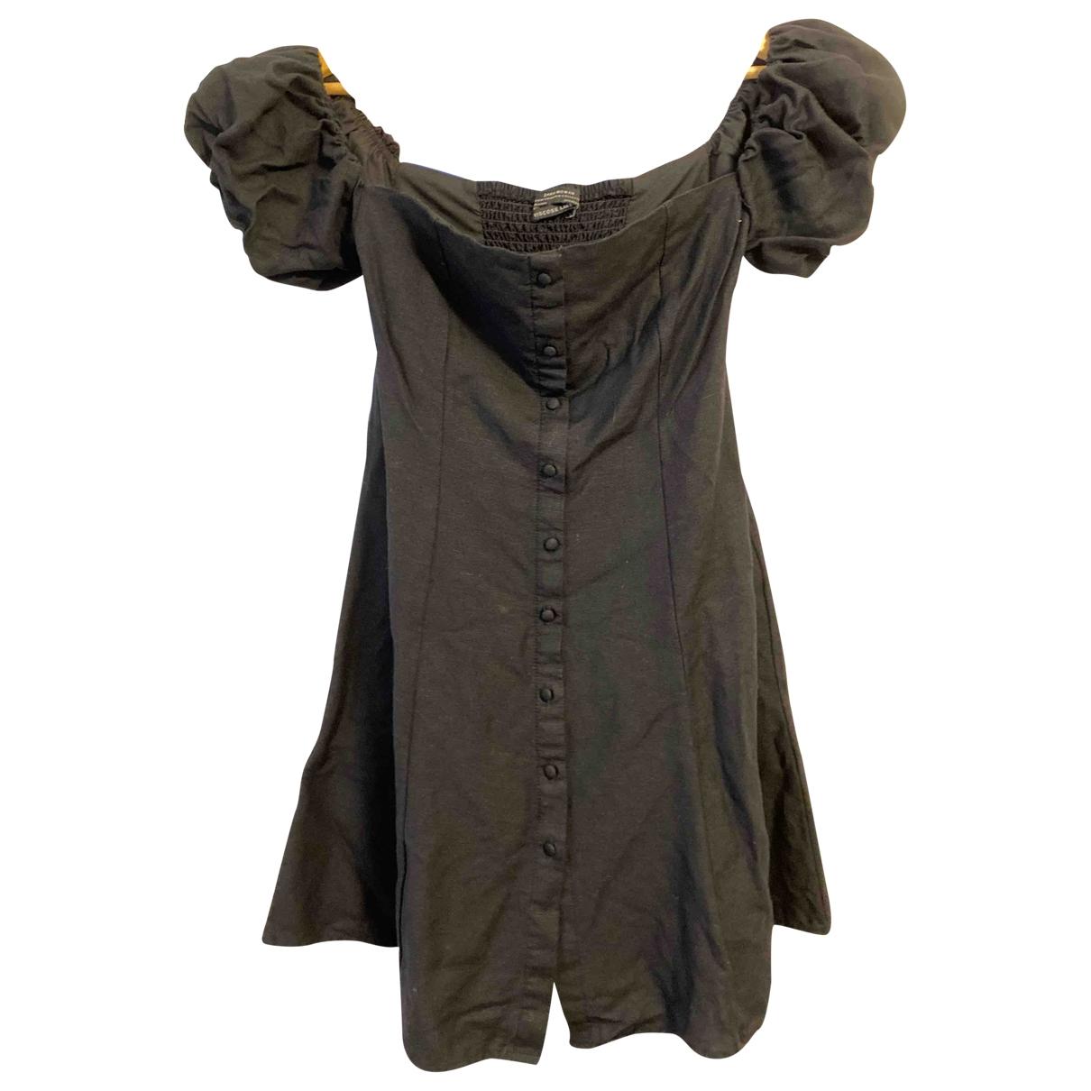 Zara \N Kleid in  Schwarz Leinen