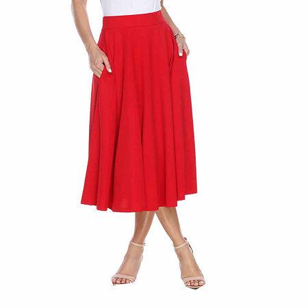 White Mark Tasmin Womens Mid Rise Stretch Midi Flared Skirt, X-large , Red