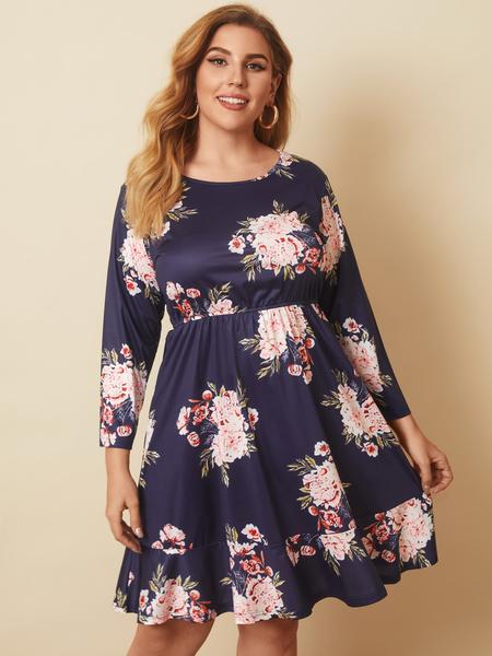 YOINS Plus Size  Floral Print Long Sleeves Mini Dress