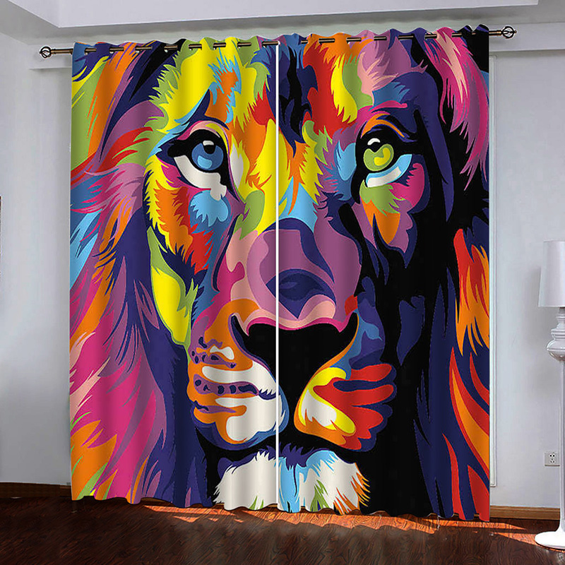 3D Colorful Lion Printed Blackout Decoration 2 Panels Curtain Drapes for Living Room No Pilling No Fading No off-lining