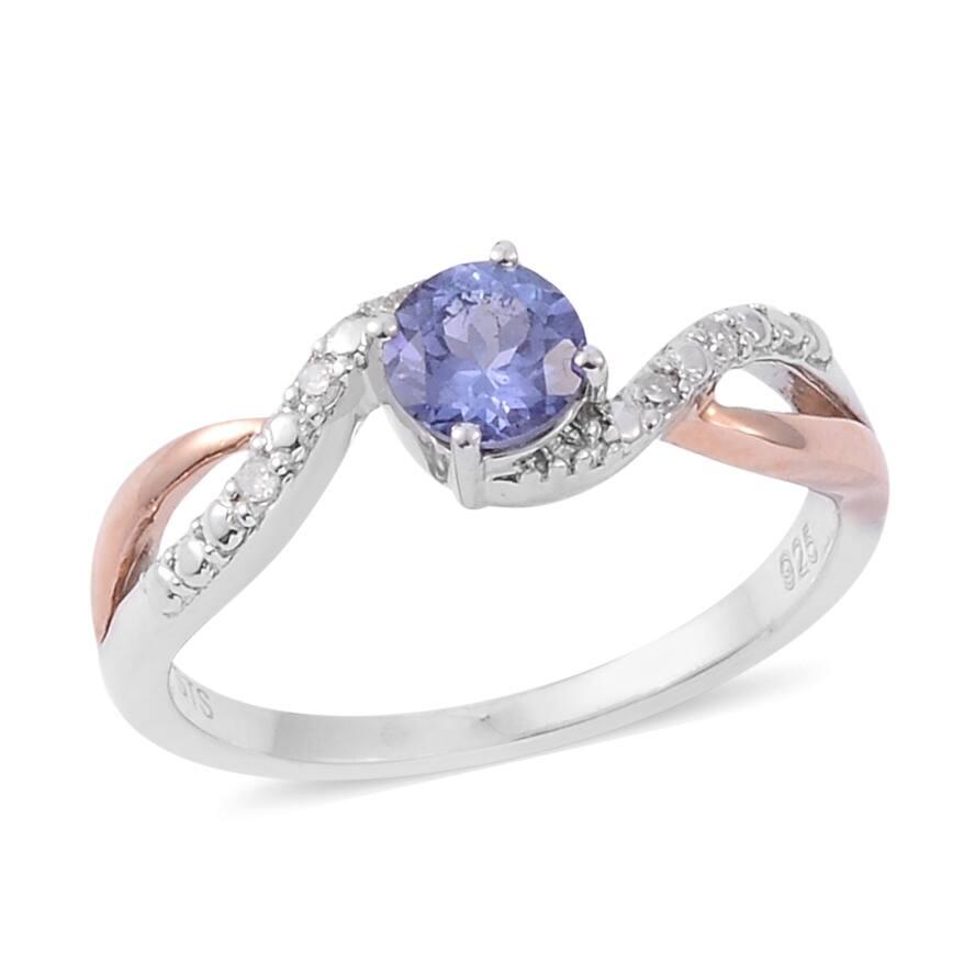 Rose Gold Tanzanite White Diamond Ring Ct 0.464 H - Ring 7 (Blue - Tanzanite - Blue - Ring 7)
