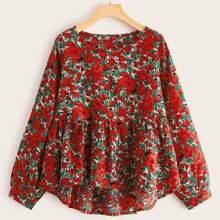 Chiffon Babydoll Bluse mit Blumen Muster und Stufensaum