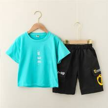 Boys Letter Graphic Tee With Cargo Shorts