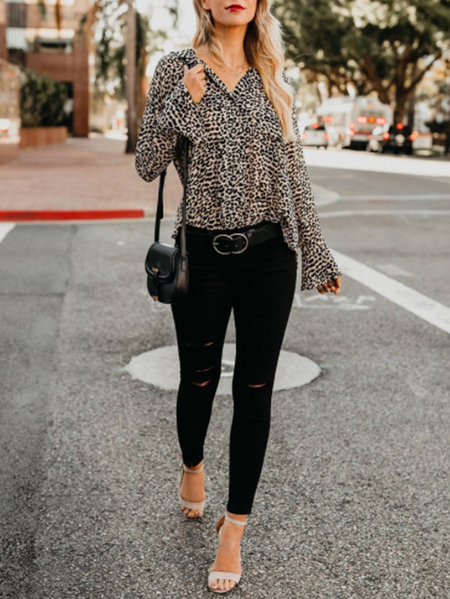 Yoins Leopard Bell Sleeves V-neck Blouse