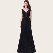 V-back Mesh Insert Sequin Velvet Formal Dress