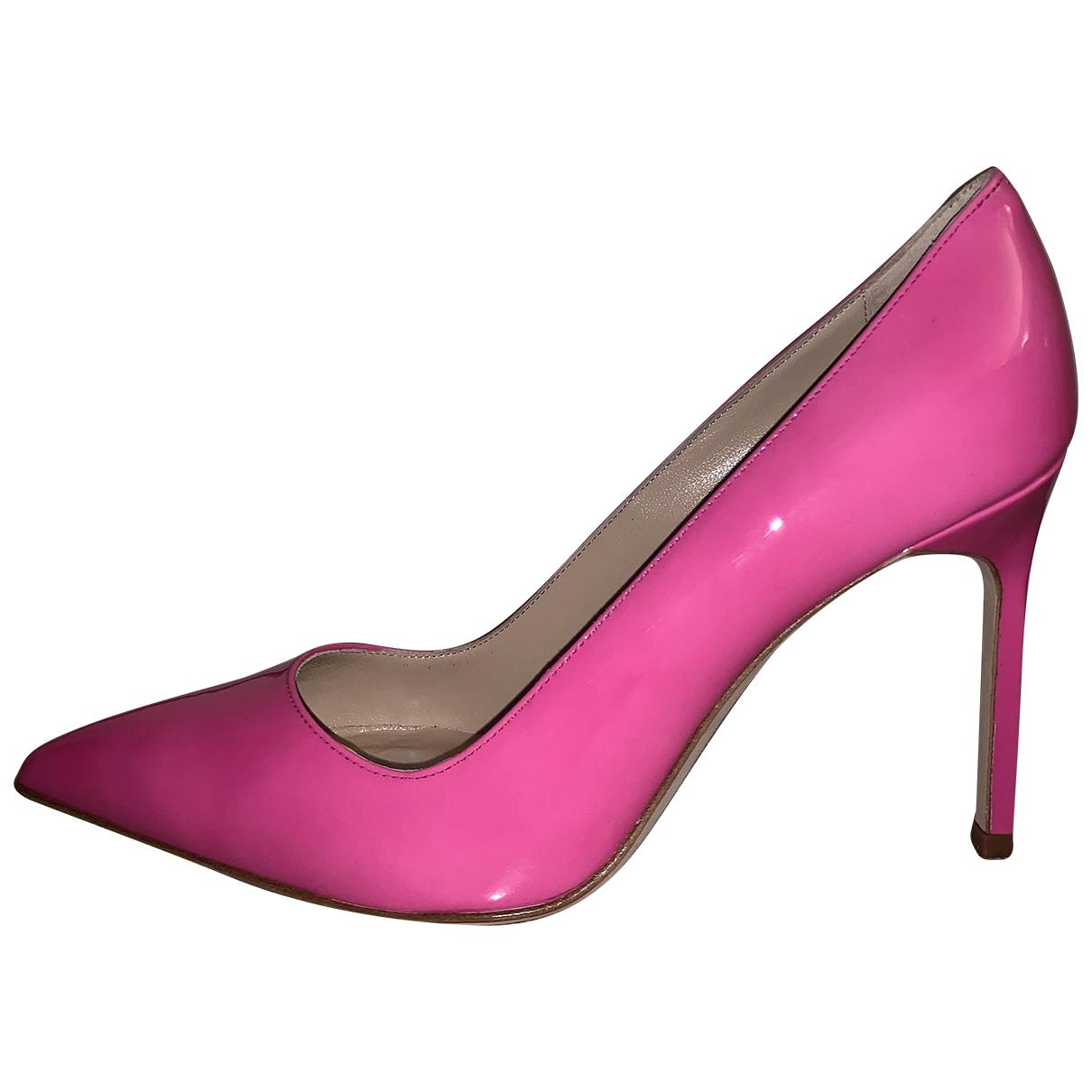 Manolo Blahnik - Escarpins   pour femme en cuir verni - rose