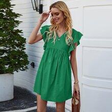 Vestidos Liso Verde Bohemio