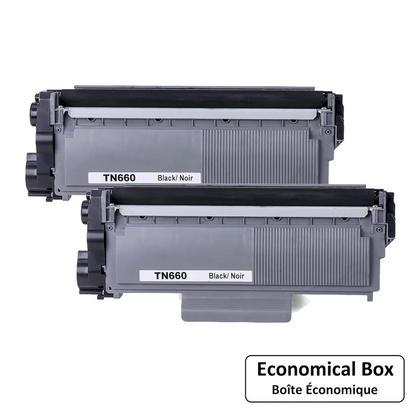 Compatible Brother TN-660 cartouche de toner noire - boite economique - 2/paquet