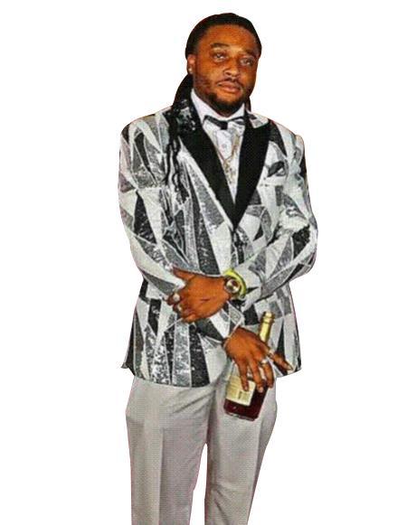 Mens Gray Single Breasted Peak Black Lapel fancy designed suit