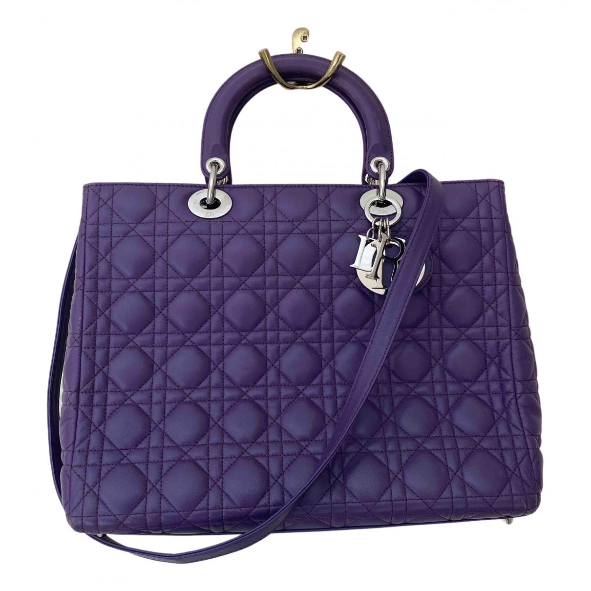 Dior - Sac a main Lady Dior pour femme en cuir - violet