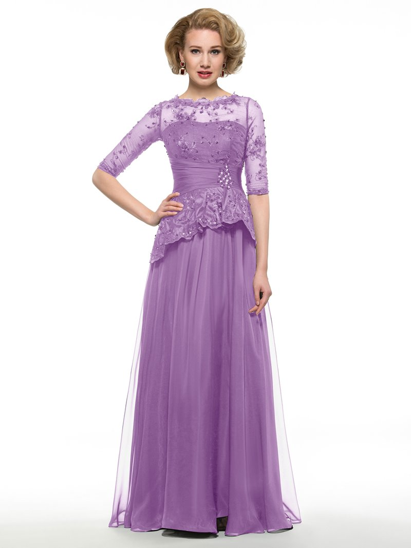 Ericdress Elegant Half Sleeves Lace Long Mother Of The Bride Dress