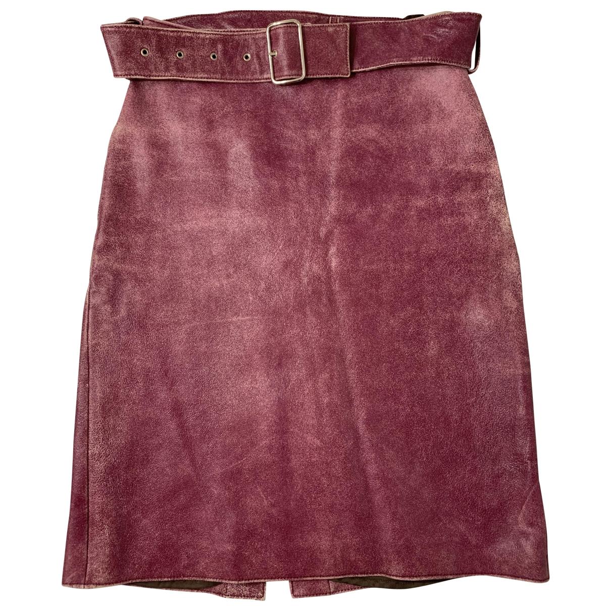 Miu Miu - Jupe   pour femme en cuir - rose
