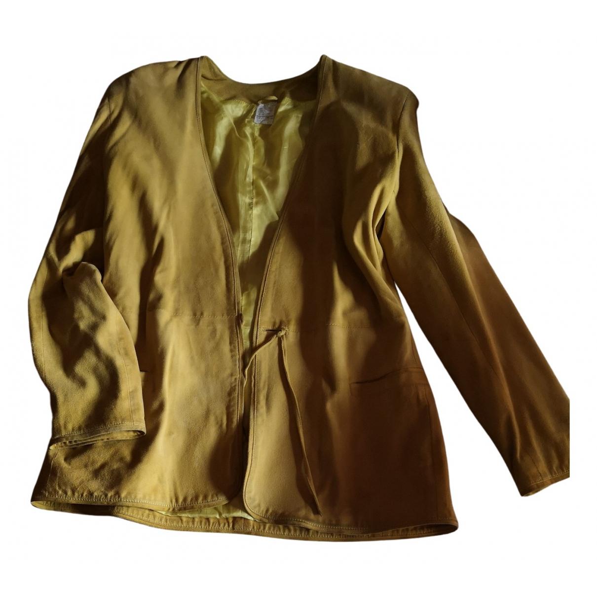 Versace - Veste   pour femme en suede - camel