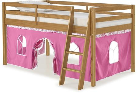 Roxy Collection AJRX10CIATPWH Twin Size Junior Loft Bed with Slatted Guardrails  Ladder Included  Cinnamon Pine Wood Construction and Polyester