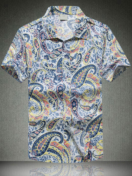 Milanoo Men Summer Shirts Short Sleeve Paisley Printed Beach Shirt