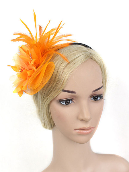 Milanoo Flapper Headband 1920s Costume The Great Gatsby Yellow Feather Headpieces Women Vintage Costume Accessories Halloween