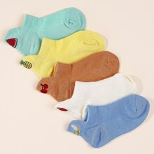 5 pares calcetines de bebe con bordado de fruta