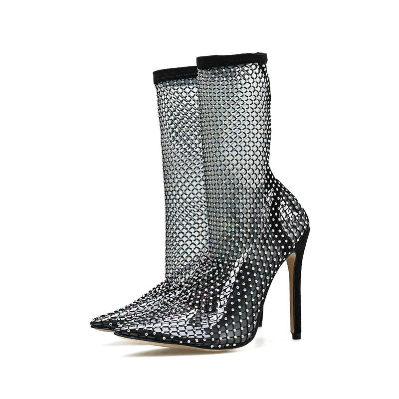 Ericdress Plain Stiletto Heel Pointed Toe Hollow Boots