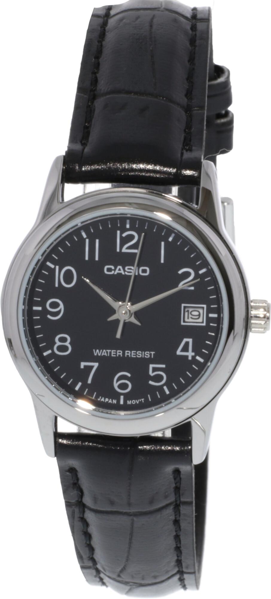 Casio Women's Original LTPV002L-1B Silver Leather Japanese Quartz Dress Watch