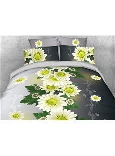 Green Daisy Floral Printed 4-Piece 3D Bedding Sets/Duvet Covers