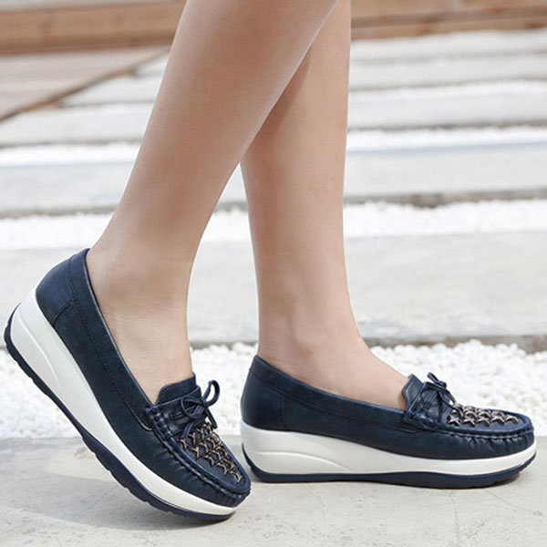 Women Butterfly Knot Metal Decoration PU Breathable Slip On Platform Shoes