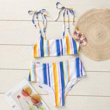 Bañador bikini de hombro con cordon de rayas vistosas
