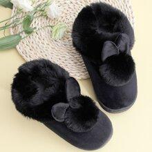Pom-pom & Ear Decor Warm Slippers