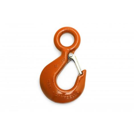 Campbell Alloy Eye Hoist Hook w/Latch, PL, ##29, 7T, Forged Alloy,Painted Orange