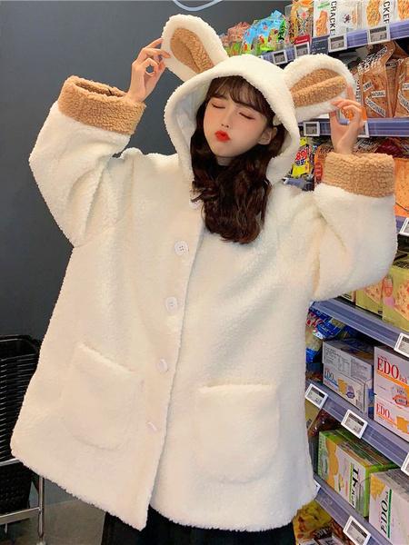 Milanoo Sweet Lolita Coats White Overcoat Polyester Fall Lolita Outwears Sweet And Cute Bear Ears Hooded Lamb Fur