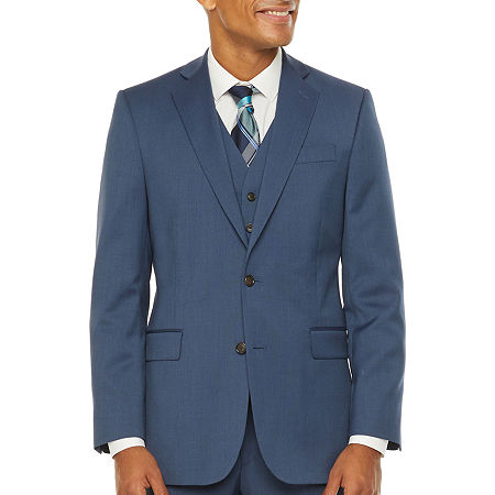 Stafford Super Suit Mens Stretch Regular Fit Suit Jacket-Big and Tall, 52 Big Short, Blue