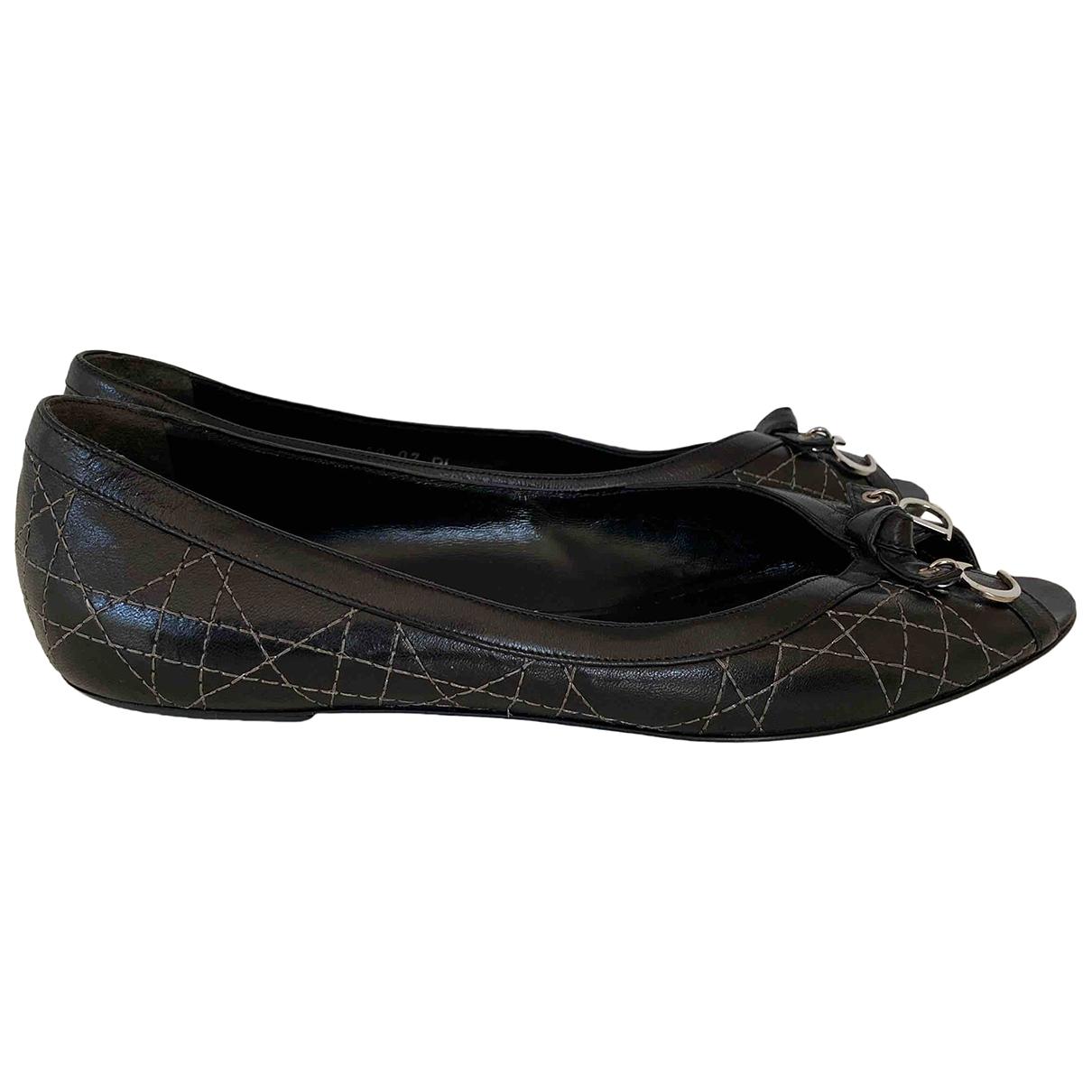 Dior \N Ballerinas in  Schwarz Leder