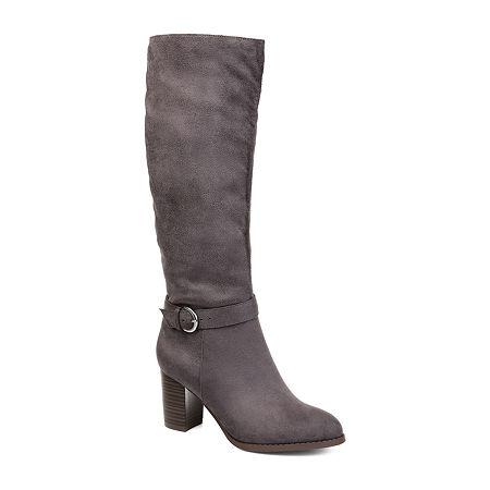 Journee Collection Womens Joelle Dress Boots Zip Stacked Heel, 11 Medium, Gray