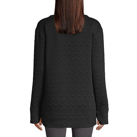 St. John's Bay Active-Tall Womens Crew Neck Long Sleeve Tunic Top, X-large Tall , Black