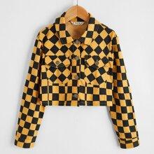 Crop Jacke mit Taschen Klappen vorn und Karo Muster