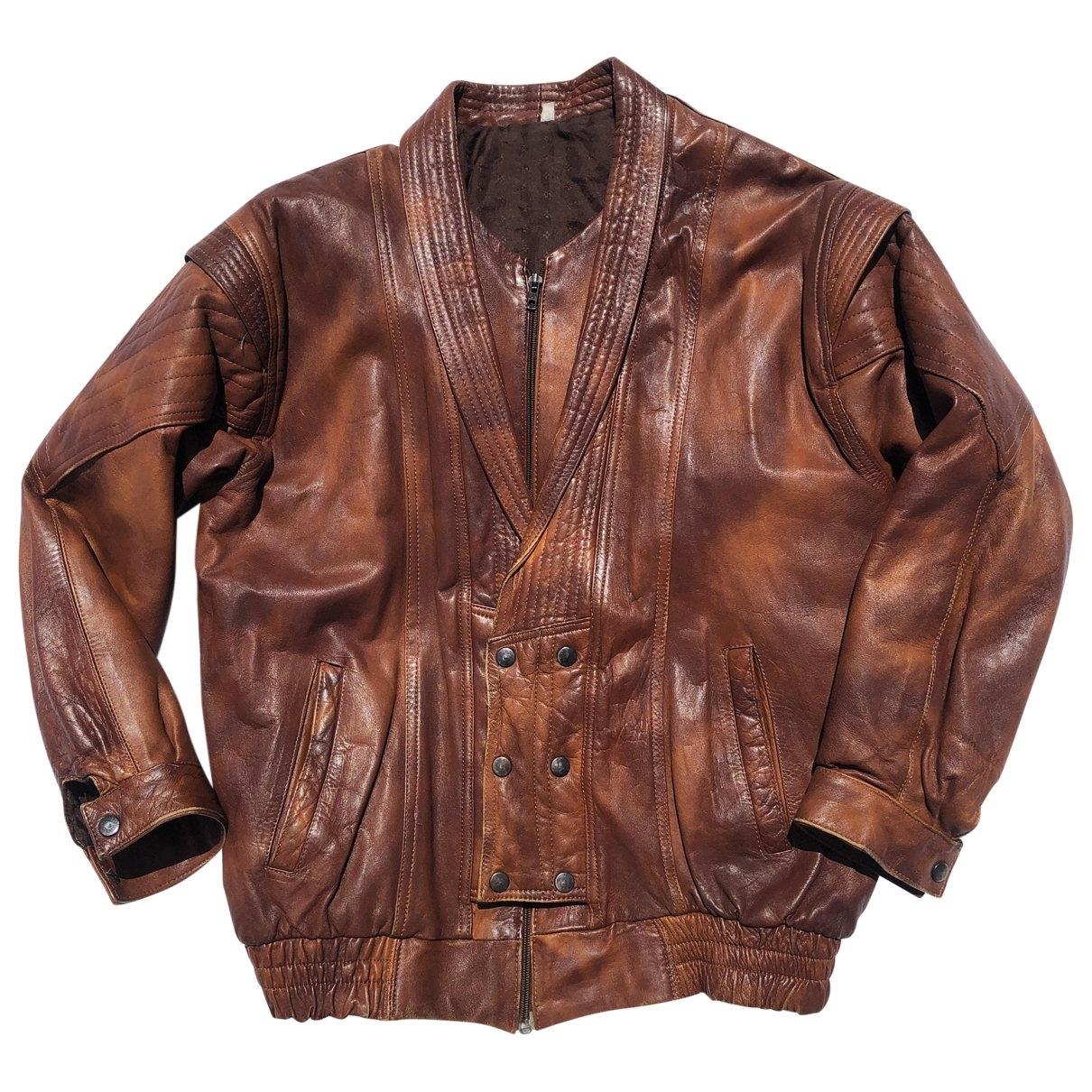 - Blouson Oversize pour femme en cuir - marron
