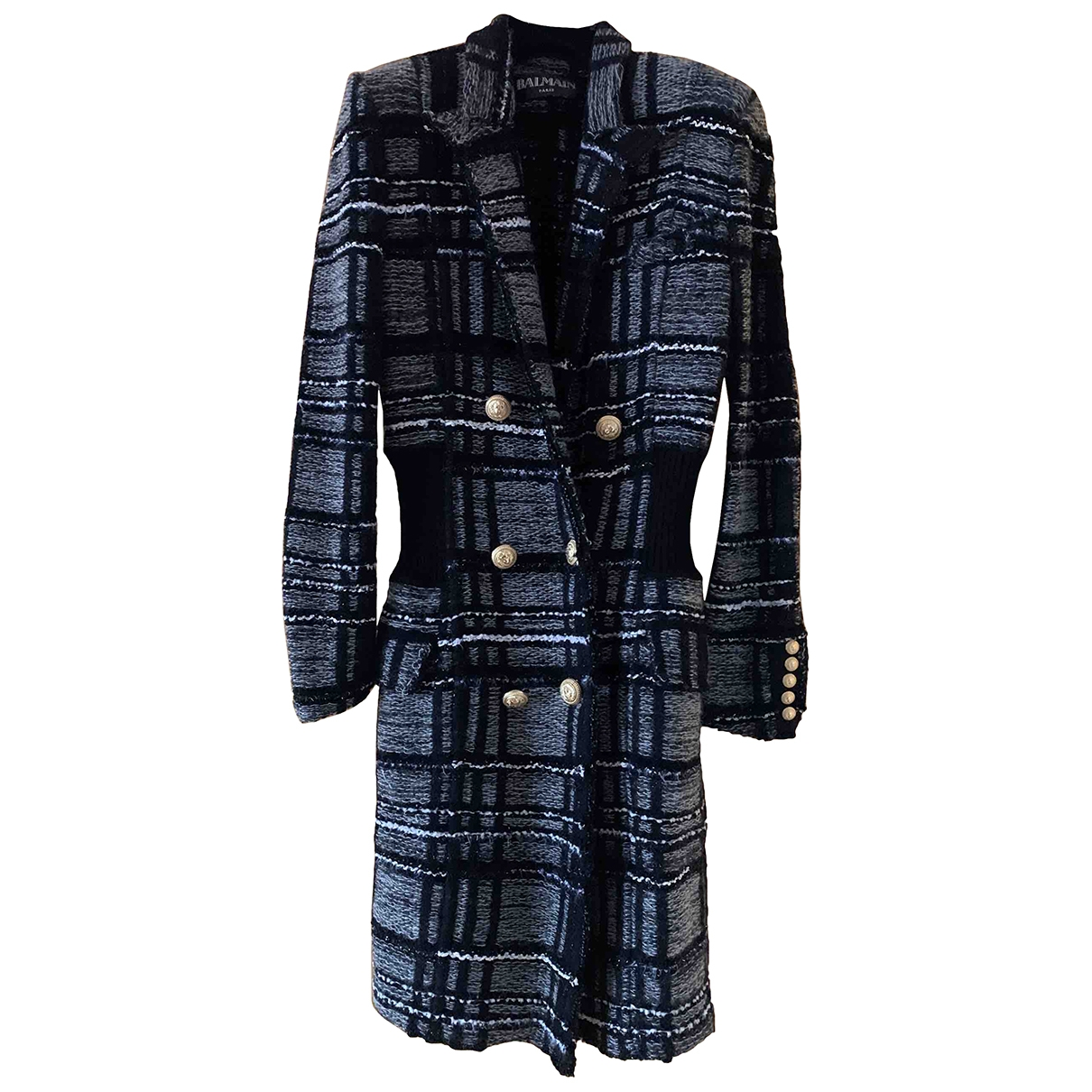 Balmain \N Grey Wool coat for Women 36 FR
