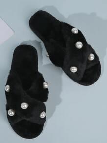 Faux Pearl Decor Cross Strap Fluffy Slippers