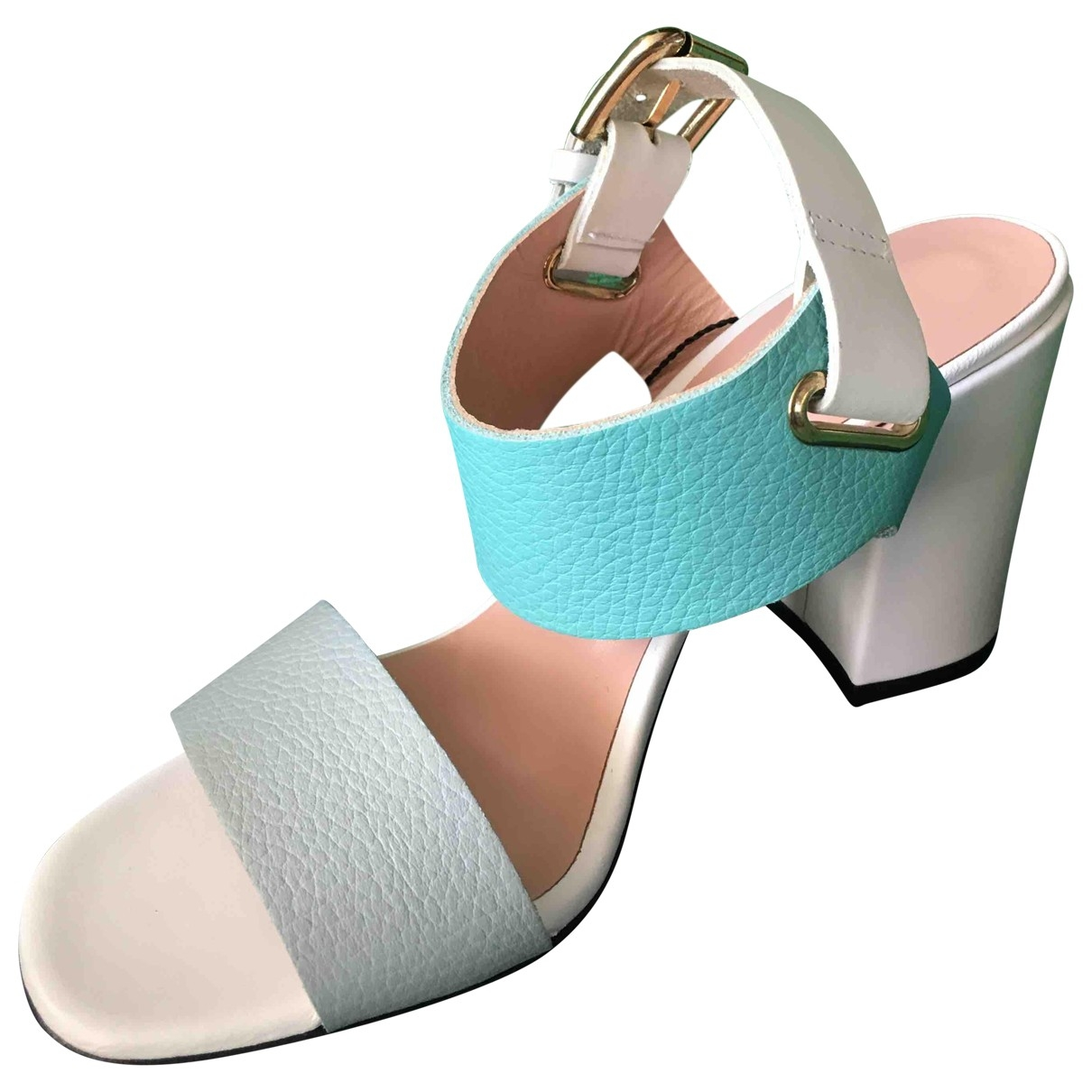 Pollini \N Turquoise Fur Sandals for Women 37.5 EU
