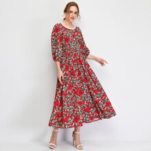 A-Linie Kleid mit Blumen Muster und Perlen Detail