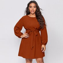 Plus Solid Bishop Sleeve Belted Tunic Dress
