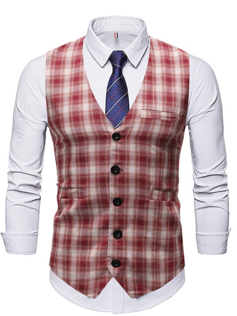 Ericdress Plaid V-Neck Fall Single-Breasted Waistcoat