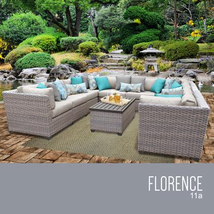FLORENCE-11a-BEIGE Florence 11 Piece Outdoor Wicker Patio Furniture Set 11a with 2 Covers: Grey and
