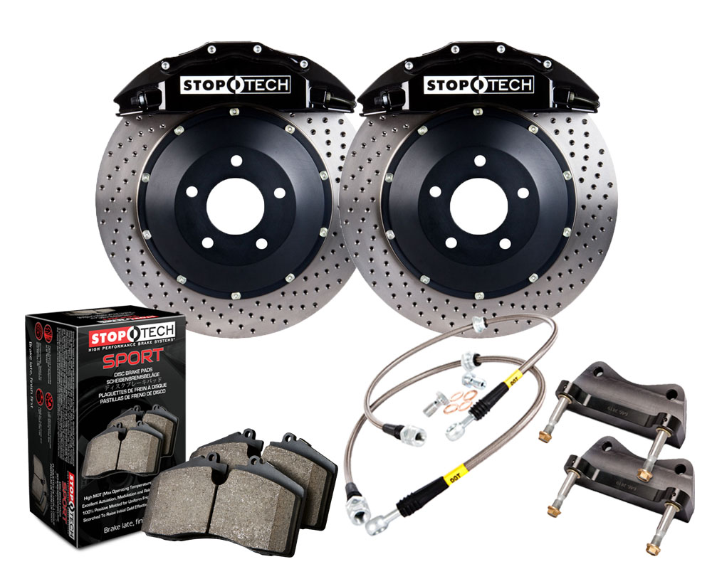StopTech 83.529.6700.52 Big Brake Kit; Black Caliper; Drilled Two-Piece Rotor; Front Lexus GS350 Front 2013-2015