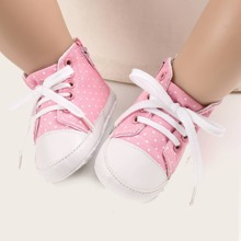 Baby Girl Lace Up Front Polka Dot Sneakers