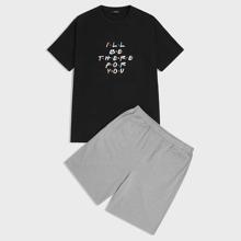 Men Slogan Graphic Tee and Heather Gray Shorts PJ Set