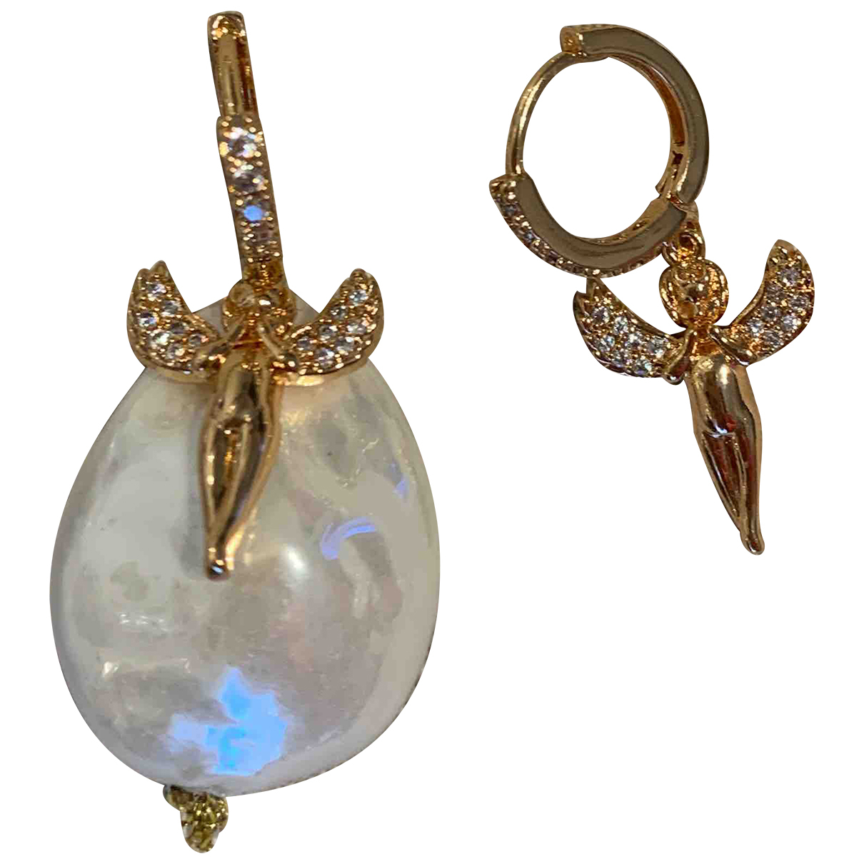 Non Signe / Unsigned Motifs Religieux OhrRing in  Gold Perle