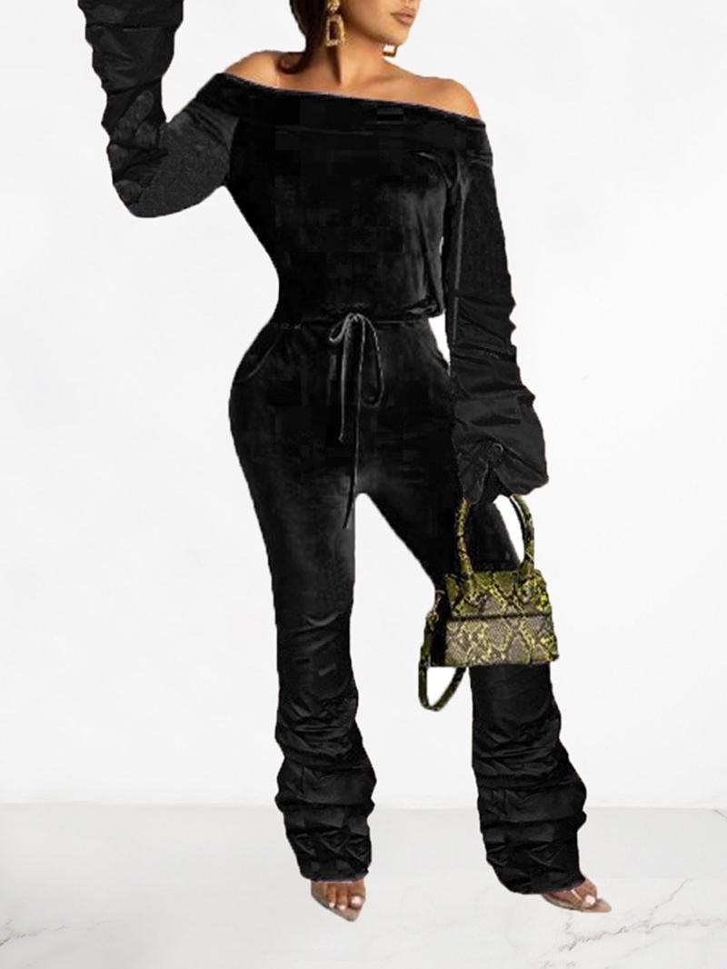 Ericdress Plain Off Shoulder Full Length Casual Slim High Waist Jumpsuit