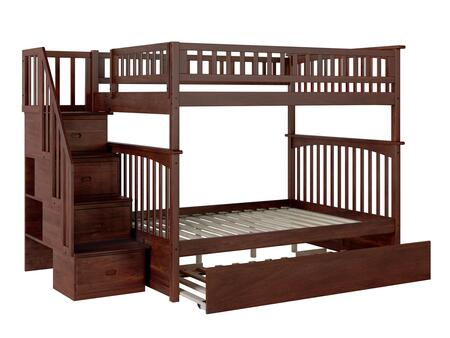 Columbia Collection AB55854 Full Size Staircase Bunk Bed with Twin Size Urban Trundle  Casters  Steel Bolts  Modern Style and Solid Eco-Friendly