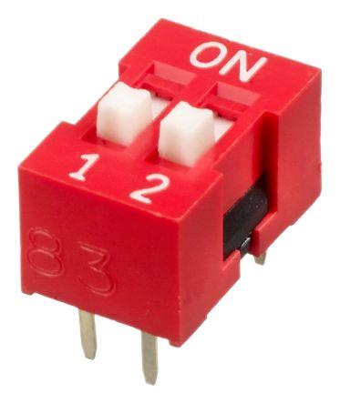 APEM 2 Way Through Hole DIP Switch SPST, Raised Actuator (72)